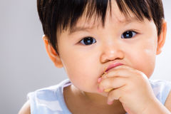 Little boy eating biscuit close up Stock Image