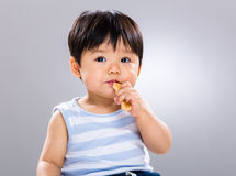 Little boy eating biscuit Royalty Free Stock Photo