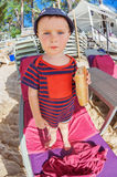 Little boy eating a bread Royalty Free Stock Photo