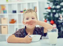 Little Caucasian boy eating breakfast on the eve of the new year. Christmas tree in the background. Little boy eating breakfast on the eve of the new year Royalty Free Stock Photography