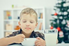Little Caucasian boy eating breakfast on the eve of the new year. Christmas tree in the background. Little boy eating breakfast on the eve of the new year Royalty Free Stock Image