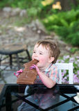 Little Boy Eating a Chocolate Bunny Stock Photo