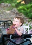 Little Boy Eating a Chocolate Bunny Stock Photo