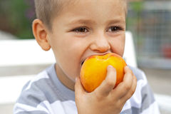 Little boy eating fresh fruit Stock Images