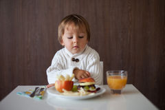 Little boy, eating fruit sanwich Royalty Free Stock Images