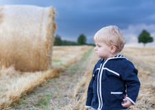 Little boy eating German sausage on goden hay field Stock Images