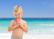 Little boy eating his ice cream Royalty Free Stock Photography