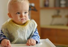 Little boy during eating Royalty Free Stock Photo