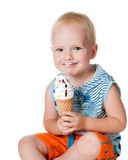 Little boy eating ice cream Royalty Free Stock Photos
