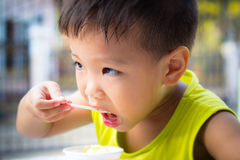 Little boy eating ice cream Stock Images