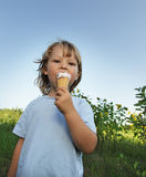 little boy eating an ice cream Royalty Free Stock Images