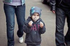Little boy eating ice-cream. Outdoor shoot Stock Photo