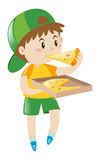 Little boy eating pizza vector illustration