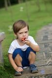 Little boy eating plum Royalty Free Stock Image