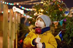 Little boy eating red apple covered in caramel on Christmas market. Traditional child& x27;s enjoyment and fun during Xmas time. Children and sweets stock image