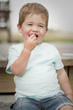 Little boy eating strawberry Royalty Free Stock Photos