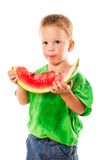 Little boy eating a watermelon Royalty Free Stock Image