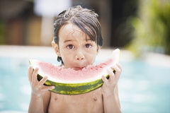 Little boy eating watermelon Royalty Free Stock Image
