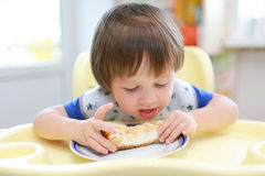 Little boy eats cheesecake Stock Photography
