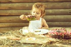 Little boy eats fruit cake royalty free stock photo