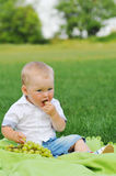 Little boy eats grapes Royalty Free Stock Photo