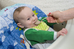 The little boy eats with a spoon. Close-up. Stock Photos