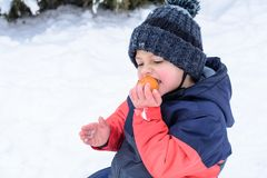 Little boy eats tangerine and croaks. In winter outdoors in park Royalty Free Stock Photography