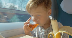 Little boy eats while travelling by train stock video footage