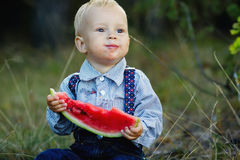 Little boy eats watermelon Royalty Free Stock Photos