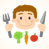 Little Boy Eeating Vegetables Stock Image