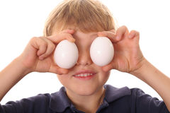 Little boy with egg eyes Royalty Free Stock Image