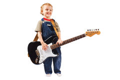 Little boy with electric guitar Stock Photos