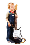 Little boy with electric guitar Stock Photo