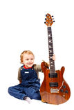 Little boy with electric guitar Royalty Free Stock Photo