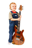 Little boy with electric guitar royalty free stock photos
