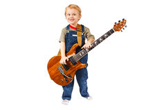 Little boy with electric guitar Stock Photography