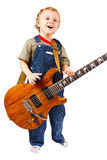 Little boy with electric guitar Royalty Free Stock Images