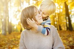 Little boy embraces his mother and kissing her during stroll at sunny autumn park stock image