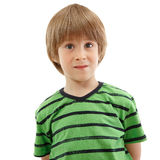 Little boy emotional portrait isolated on white Royalty Free Stock Images