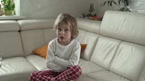 The little boy emotions. Boy is upset and crying.  stock footage
