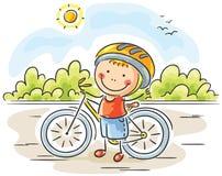 Little Boy en Fiets stock illustratie