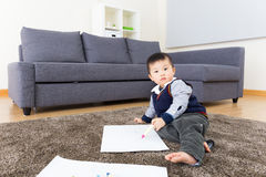 Little boy enjoy drawing Stock Photo