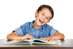 Little boy enjoy learning. Royalty Free Stock Images