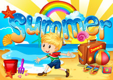 Little boy enjoy summer on the beach. Illustration Royalty Free Stock Images