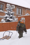 Little boy enjoy winter outdoor Royalty Free Stock Images
