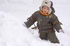 Little boy enjoy winter outdoor Royalty Free Stock Photography