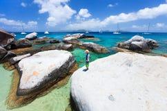 Little boy enjoying beach view Stock Photography