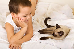 Little boy enjoying the company of his kitten Royalty Free Stock Images