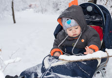Little boy enjoying a sleigh ride royalty free stock photo