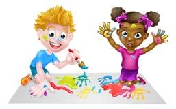 Little Boy et peinture de fille Illustration Libre de Droits